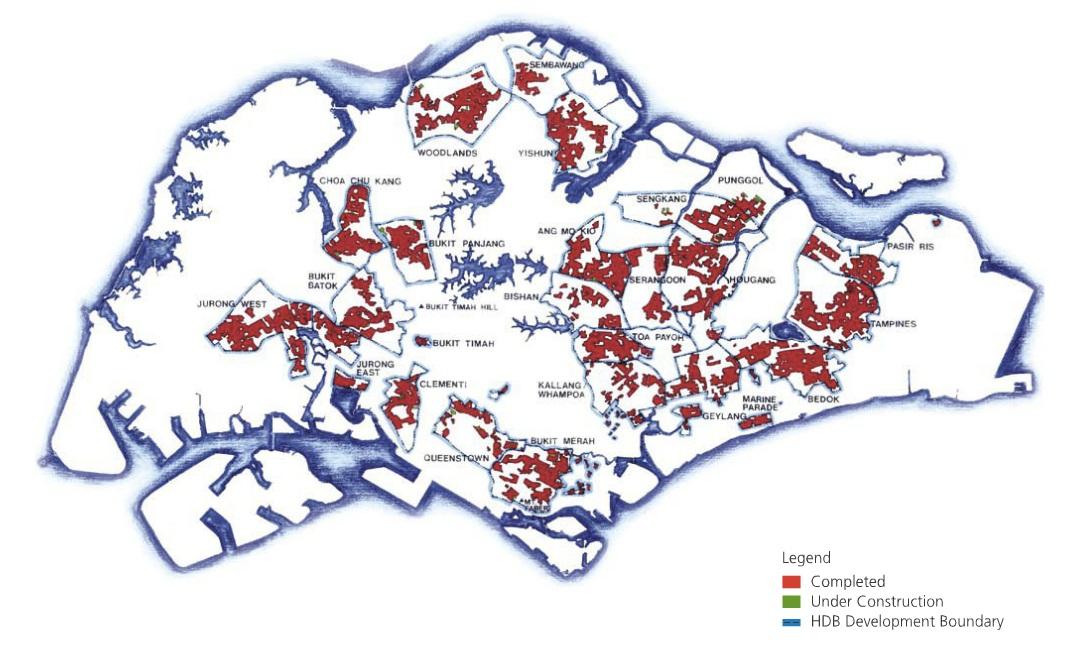 Afbeeldingsresultaat voor map singapore public housing hdb